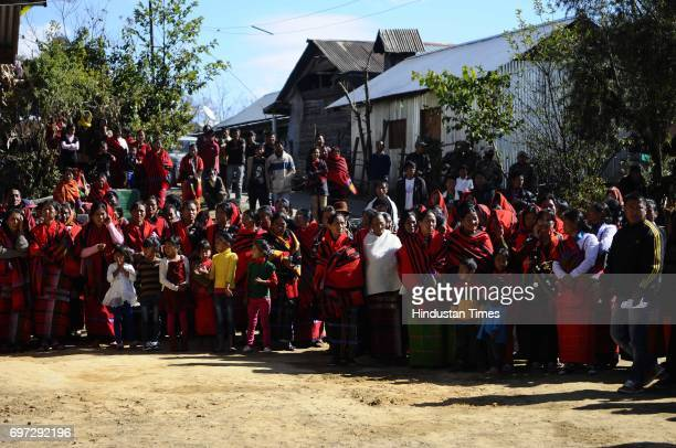 Local residents welcome Secretary Vandana Jena as she visits her first posting as SDM in Ukhrul district on January 16 2015 in Manipur India