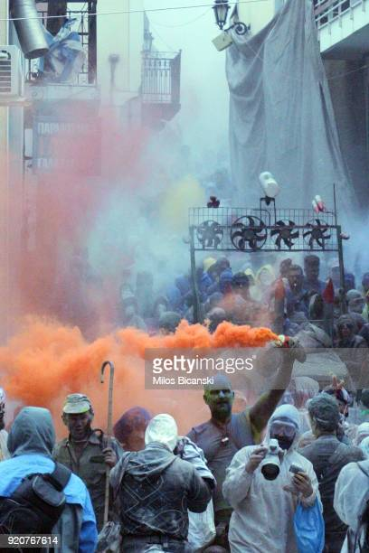 Local revellers celebrate 'Clean Monday' by throwing coloured flour at each other on February 19 2018 in Galaxidi Greece Clean Monday also known as...