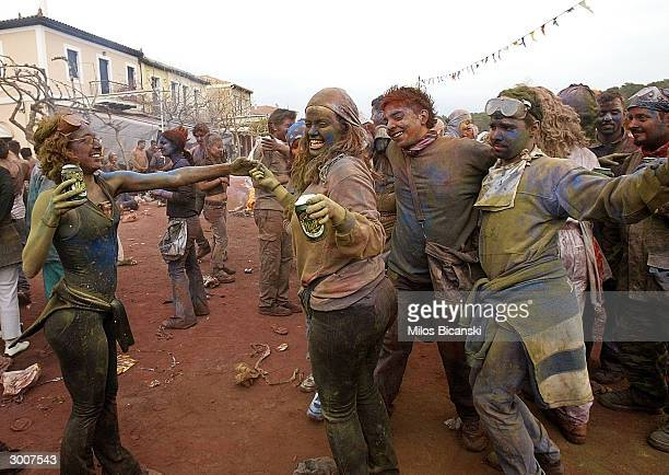 Local revellers celebrate 'Clean Monday' with a colourful 'flourwar' traditionally marking the end of the carnival season on February 23 2004 in...