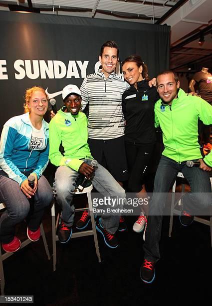Local runnr Katie Gerhart Kenyan long distance runner Wesley Korir Bill Rancic Giuliana Rancic and American longdistance runner Dathan Ritzenhein...