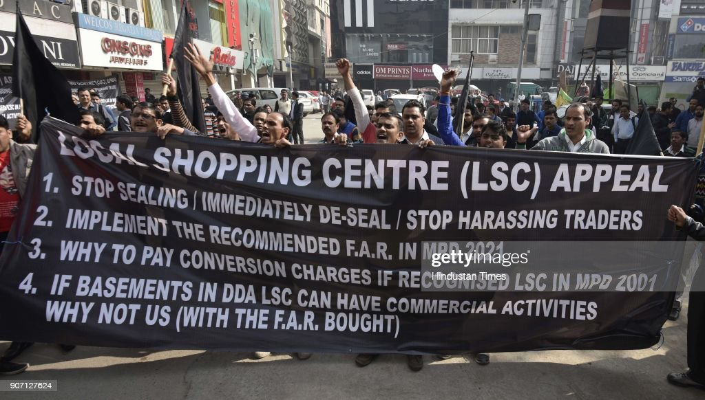 Delhi Shop Owners Protest Sealing Drive