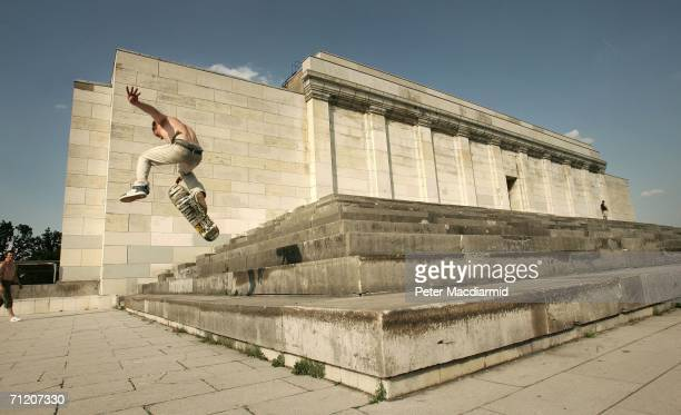 A local skate boarder uses the former Nazi Party Rally stadium on June 14 2006 in Nurenberg Germany England will face Trinidad and Tobago in their...