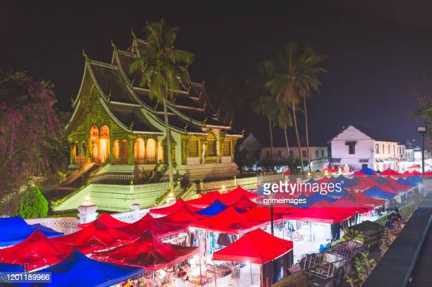 local street market at night in luang prabang - primeimages stock pictures, royalty-free photos & images