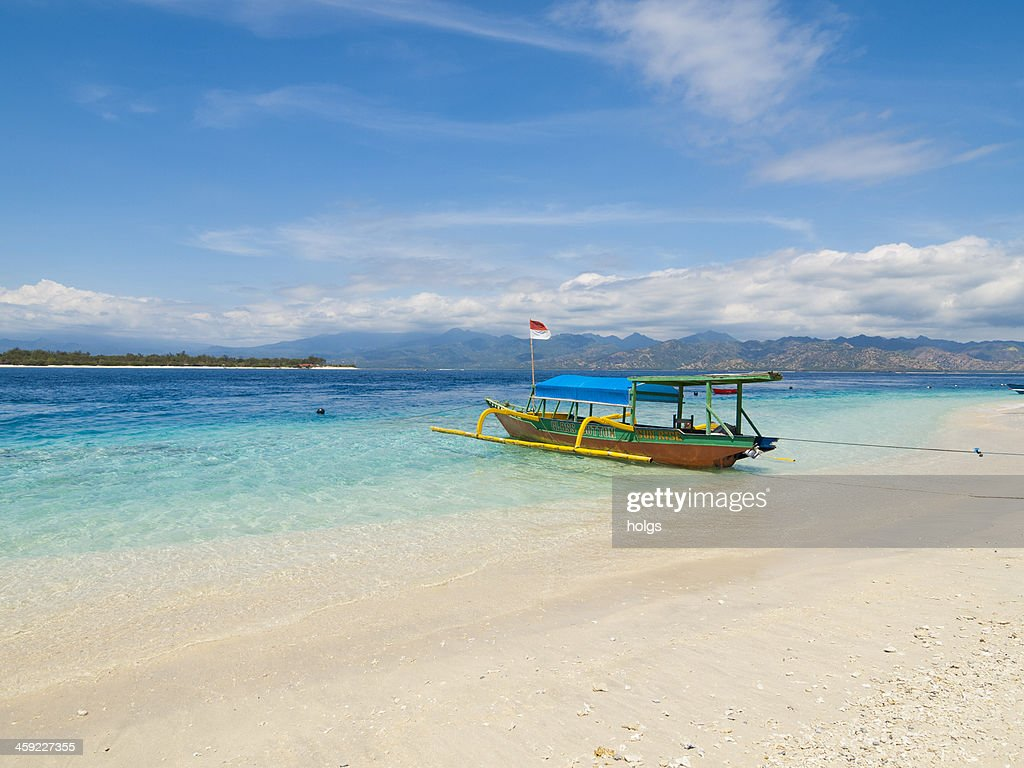 Local style outrigger boat, Gili Trawangan, Indonesia : Stock Photo