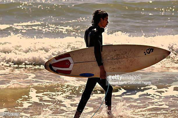 Local surfer in Dajla beach. Western Sahara. 2010