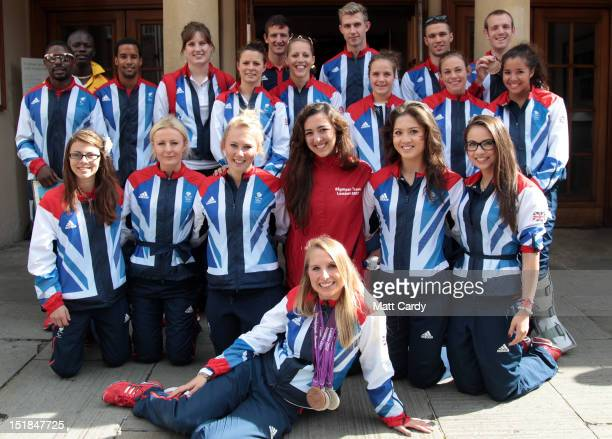Local Team GB and Paralympic GB athletes pose for a picture as they take a tour of the city on September 12 2012 in Somerset England The open top bus...