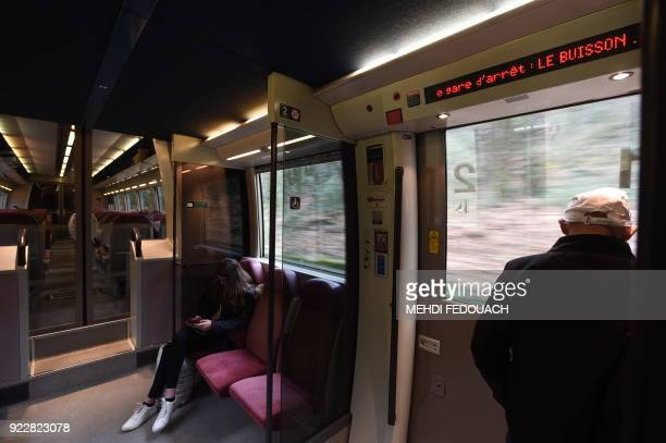 A local TER train arrives to Le Buisson de Cadouin train station on February 20 as the line which serves the station is under the cloud of possible...