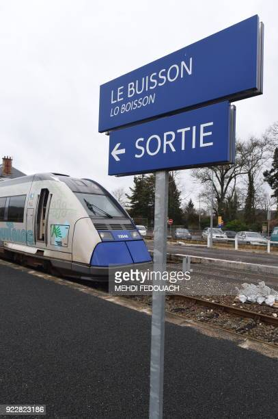 A local TER train sits at the platform at Le Buisson train station on February 20 as the line which serves the station is under the cloud of possible...
