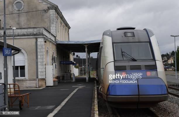 A local TER train sits at the platform at Sarlat train station on February 20 as the line which serves the station is under the cloud of possible...