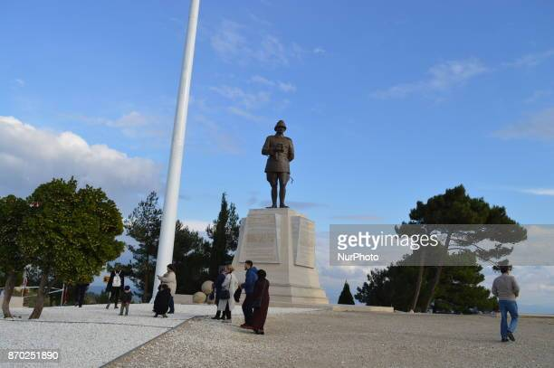 Local tourists visit a statue of Mustafa Kemal Ataturk founder and the first president of modern Turkey at Chunuk Bair on the Gallipoli peninsula in...