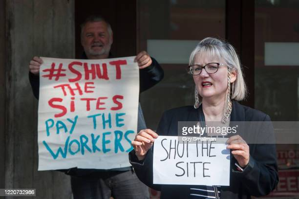 Local trade unionists in Brixton South London hold a socially distanced protest against the decision by Lambeth Council to open a demolition site at...