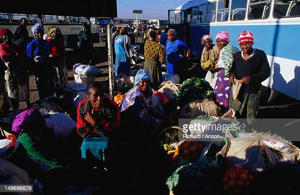 Local traders at the Mbare bus station