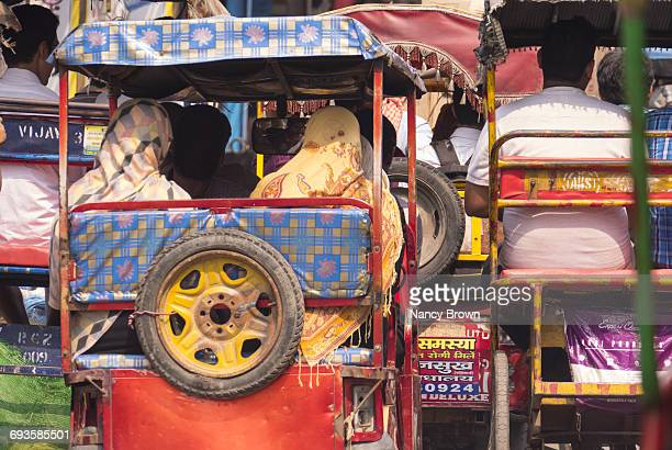 Local Traffic on Street in Old Delhi India.