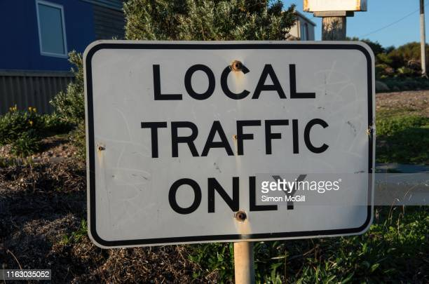 'local traffic only' road sign - urban renewal stock pictures, royalty-free photos & images