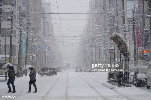 Local train and people in the snow city, Sapporo
