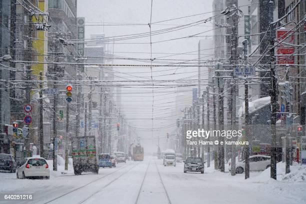 Local train running in the snow city, Sapporo