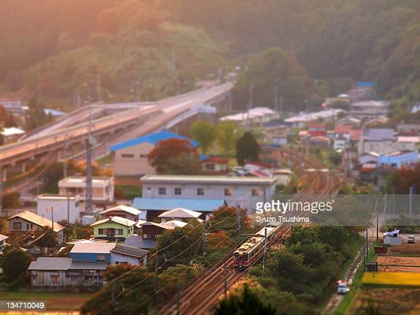 Local train tracks and bridge