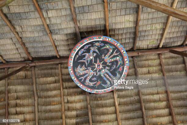 A local tribal totem in a hut to ward off evils French Guiana is haven for plants and animals with ninety percent of the area under tropical...