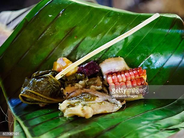 Local Vanuatu island food on leaf plate