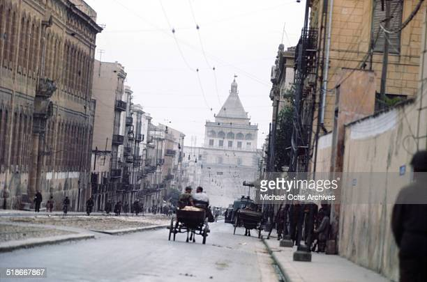 Local walk in the street 5 days after winning the campaign 'Operation Husky' in Palermo Sicily Italy