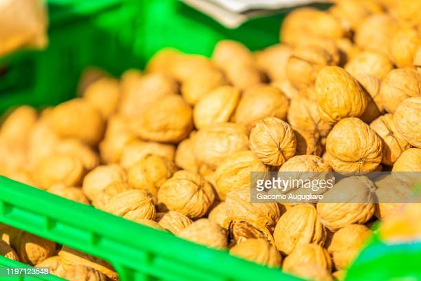 local walnuts in the market of cefalù, palermo province, sicily, italy - giacomo palermo stock pictures, royalty-free photos & images