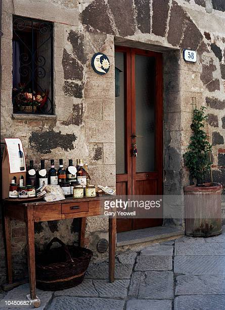 local wine and food display in street - yeowell stock pictures, royalty-free photos & images