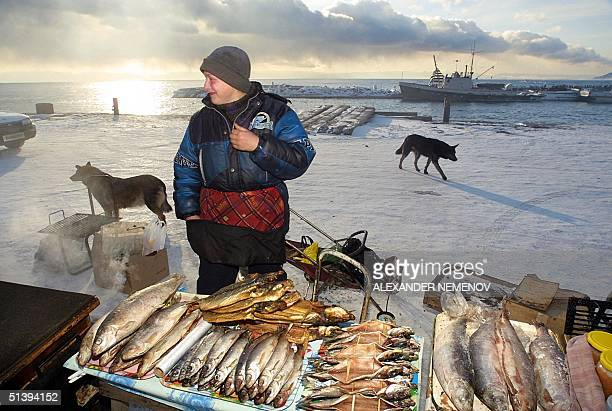 A local woman sells different fishes caught in the Baikal lake 11 December 2000 near the village of Listvyanka 70 km from the Siberian city of...