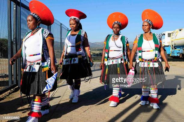 Local women arrive at the traditional wedding ceremony of President Jacob Zuma and Bongi Ngema on April 20 in Nkandla South Africa The president who...