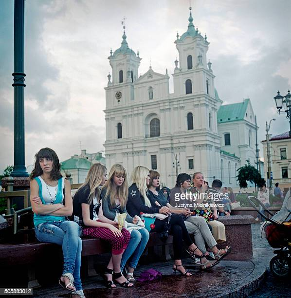 Local women gather on the main Square of Grodno ahead of the Concert planned there for the evening on July 22 2011 in Grodno Belarus Grodno is a city...