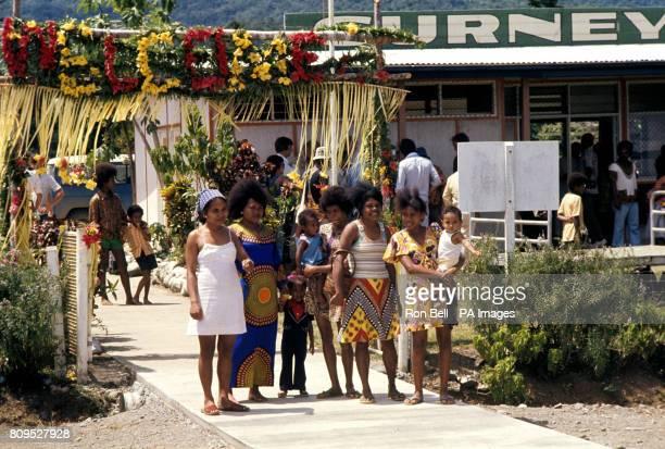 Local women waiting to greet Queen Elizabeth II and the Duke of Edinburgh when they arrived at Gurney Airport Alotau east Papua New Guinea