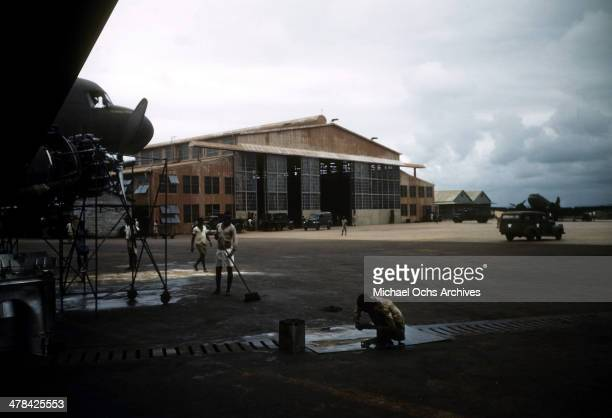 Local workers work at the US Army and Air Force base in Accra Ghana