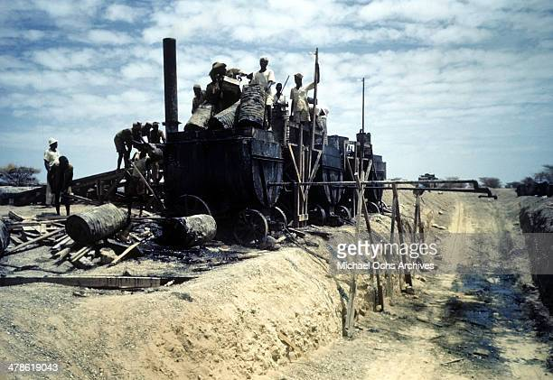 Local workers work on the Wadi Seidna air strip at the US Army Air Force/Royal Air Force base in Khartoum AngloEgyptian Sudan
