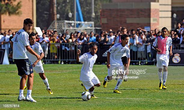 Local youth soccer players participate in the Adidas training with Real Madrid on August 5 2010 in Westwood section of Los Angeles California