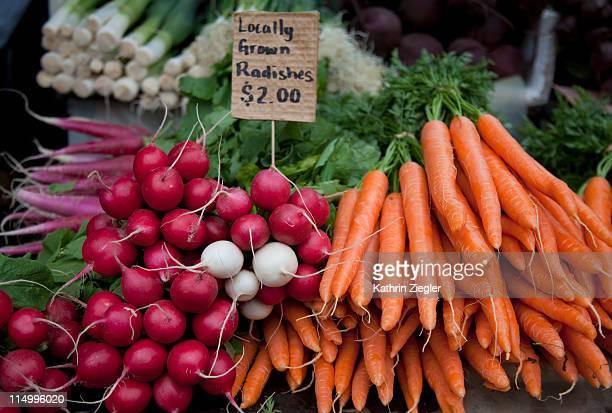 locally grown radishes and carrots, Tasmania