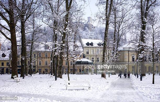 Locals and tourist walk in Congress Square with the background of the Castle on January 14 2017 in Ljubljana Slovenia Most of Slovenia was covered by...