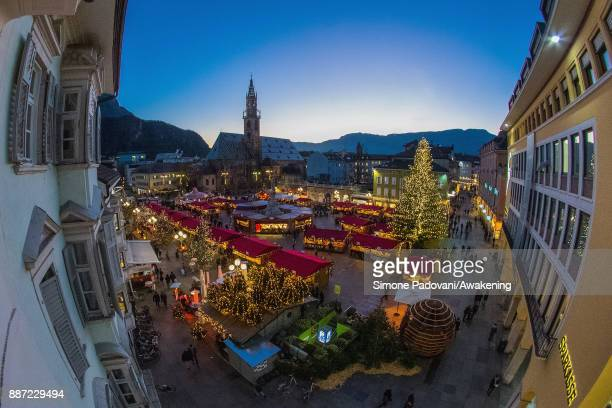 Locals and tourists visit the Christmas markets on December 6, 2017 in Bolzano, Italy.