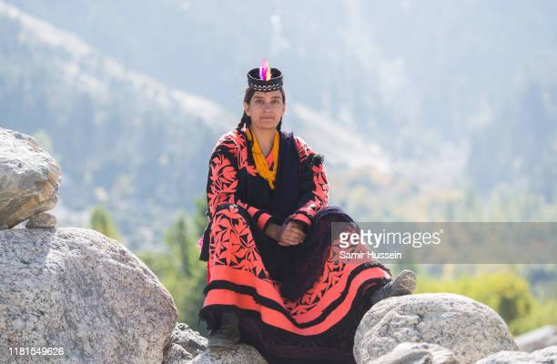 Locals are seen at a settlement of the Kalash people ahead of the visit by Prince William, Duke of Cambridge and Catherine, Duchess of Cambridge on...