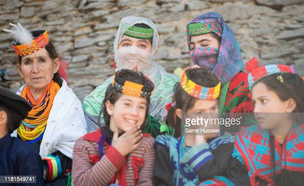 Locals are seen at a settlement of the Kalash people ahead of the visit by Prince William Duke of Cambridge and Catherine Duchess of Cambridge on...