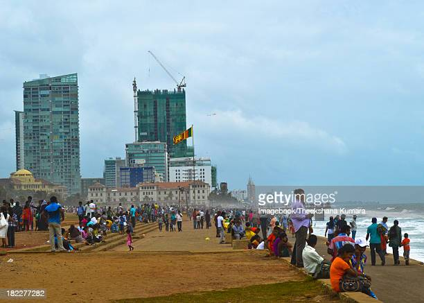 Locals at Galle Face Beach