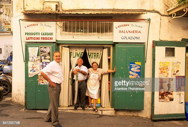 Locals by Storefront in Minori in Southern Italy