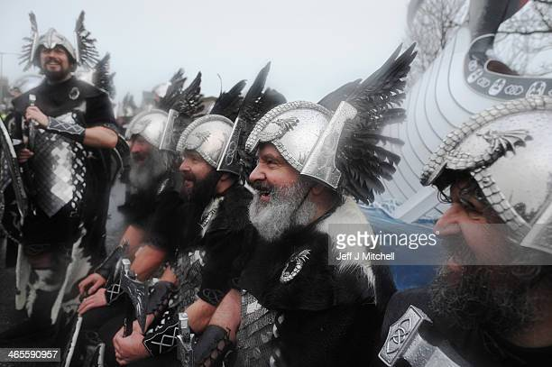 Locals dressed as Vikings pose in the streets of Lerwick on January 28 in the Shetland Islands Scotland The traditional festival of fire is known as...