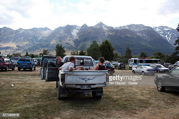 Locals drink beer in a Ute during the 50th Anniversary Glenorchy Race meeting The races which originally started in the 1920's were resurrected in...