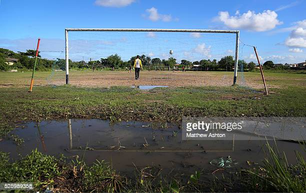 Locals enjoy an afternoon game of football in Recife located in the state of Pernambuco Rua Realengo