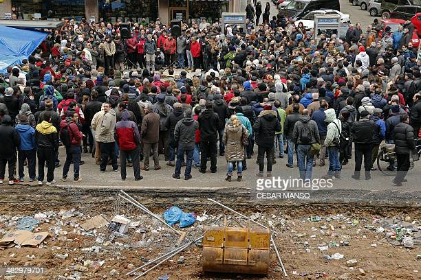 Locals from the Gamonal district of Burgos gather during a demonstration against planned construction works to revamp Vitoria street the city's main...