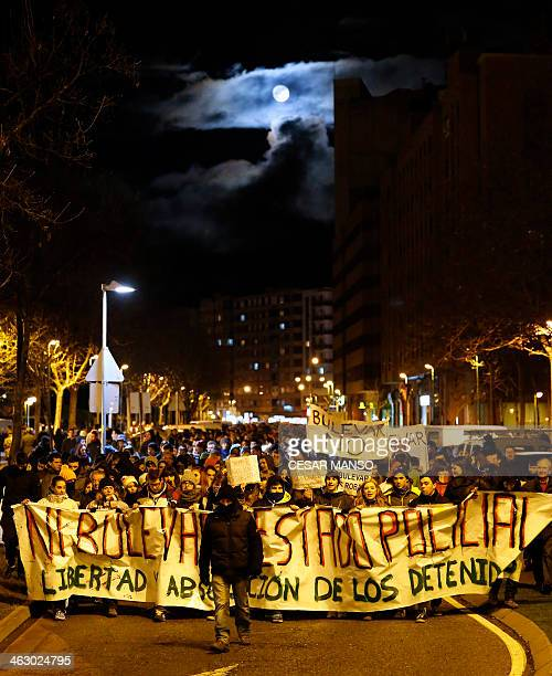 Locals from the Gamonal district of Burgos hold a banner during a demonstration against planned construction works to revamp Vitoria street the...