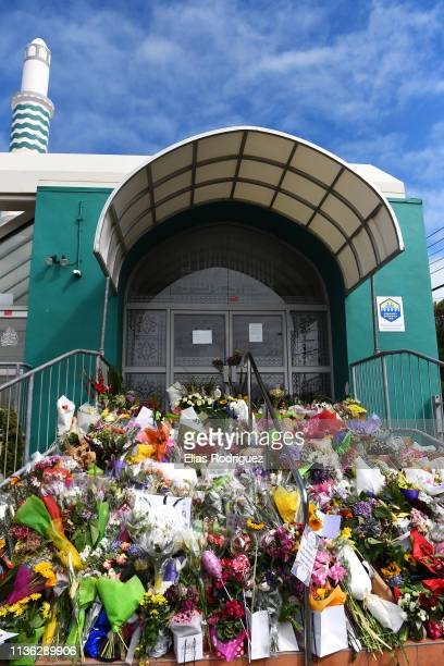 Locals have been laying flowers and messages at Wellington Masjid on March 17 2019 in Wellington New Zealand 50 people are confirmed dead with 36...