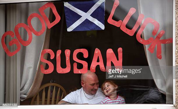 Locals in Blackburn West Lothian show their support for Susan Boyle on May 28 2009 in Blackburn Scotland The singer will compete on the final of...