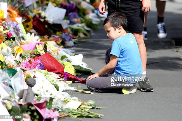 Locals lay flowers and condolences at the Huda Mosque in tribute to those killed and injured at the Al Huda Mosque on March 16 2019 in Dunedin At...