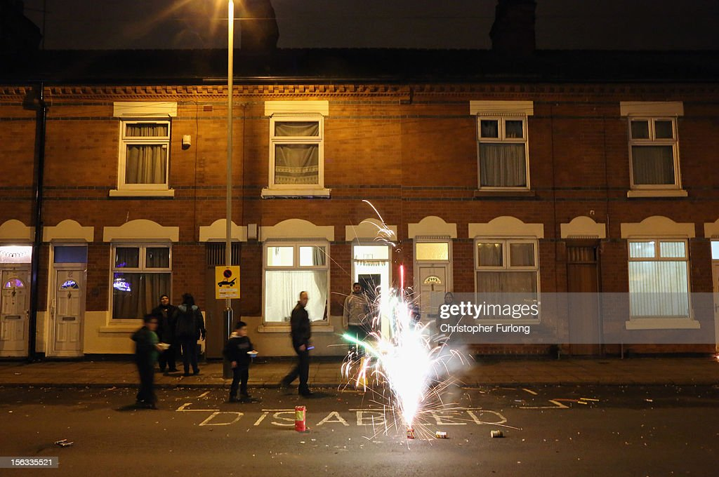 Locals light fireworks in the street during the Hindu festival of Diwali on November 13, 2012 in Leicester, United Kingdom. Up to 35,000 people attended the Diwali festival of light in Leicester's Golden Mile in the heart of the city's asian community. The festival is an opportunity for Hindus to honour Lakshmi, the goddess of wealth and other gods. Leicester's celebrations are one of the biggest in the world outside India. Sikhs and Jains also celebrate Diwali.