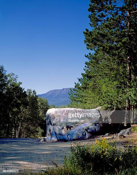 Locals painted a boulder to welcome Appalachian Trail hikers and other visitors to Baxter State Park in Maine It lies at the foot of Mount Katahdin...